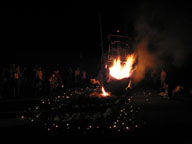 The boat is burning with wishes of the village